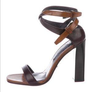 PRADA - Leather Cutout Accent Sandals